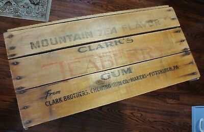 Antique Wooden Advertising Shipping Crate-Mountain Tea-CLARK'S TEABERRY GUM