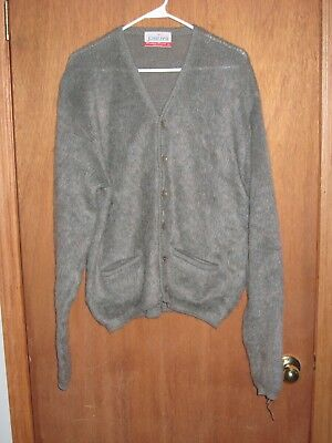 Vintage 1960's Jantzen 65% Mohair 35% Wool Cardigan Sweater Men XL Grunge Cobain