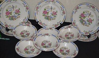 """Vintage Lord Nelson Pottery T'sing Set Of 5 Lunch / Salad Plates 9"""" & 6 x Bowls"""