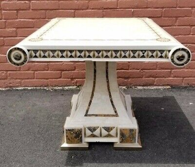 Fancy Italian  Inspired Mid Century Modern Inlay Marble Parlor End Coffee Table