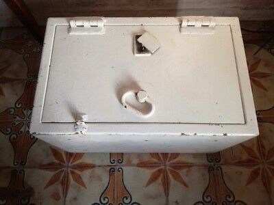 Antique Cast Iron Strong Box / Deed Box . Chest . Industrial  . Architectural