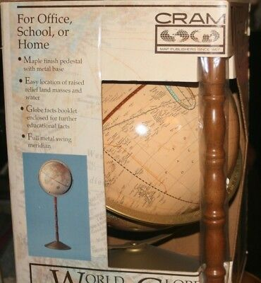 """12"""" World globe on maple pedestal with metal base, by CRAM"""