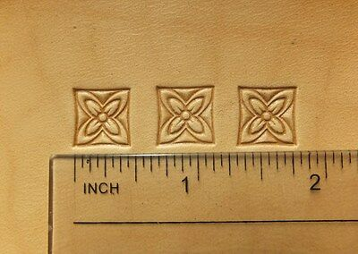 012-03 Square flower I. Leather stamp brass Tool