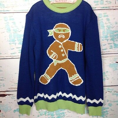 Tipsy Elves Gingerbread Man Ninja Ugly Christmas Sweater Kids Youth M Medium