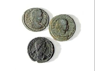 3 ANCIENT ROMAN COINS PREMIUM AE3 - Uncleaned and As Found! - Unique Lot p32906