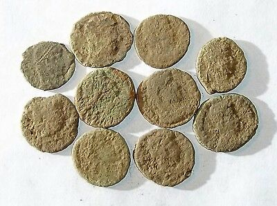 10 ANCIENT ROMAN COINS AE3 - Uncleaned and As Found! - Unique Lot 34502