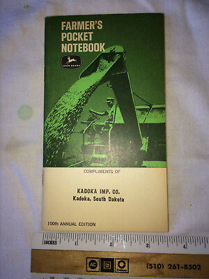 Vintage John Deere 1966 - 68 Farmer's Pocket Notebook Ledger Book 100th Edition