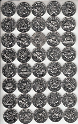 LOT of 40 Coins Sharp BU 1966 CANADA 5c 5 Cent/s Nickel/s