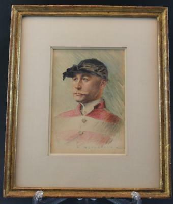 Signed RM Chandler Watercolor Portrait Painting of a Handsome Male Jockey Rider