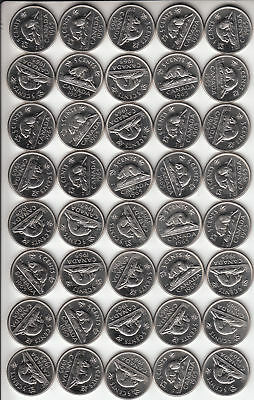 LOT of 40 Coins Sharp BU Roll 1965 CANADA 5c 5 Cent/s Nickel/s