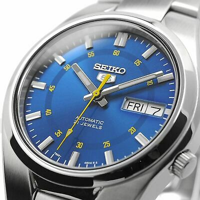 SEIKO 5 SNK615 SNK615K1 Automatic 21 Jewel Light Blue Dial Stainless Steel Watch