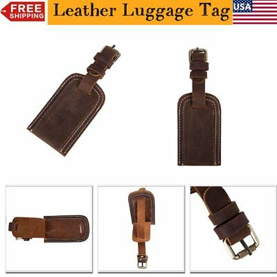 Leather Travel Bag Trip Label Luggage Suitcase Tag Name Address ID Holder Label