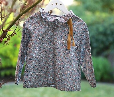 New 4T Bonton Blouse Liberty Collection French Design W mustard bow, adorable!