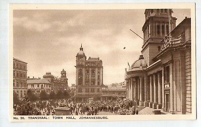 D4816ldd South Africa Transvaal Town Hall Johannesburg c1930 vintage postcard