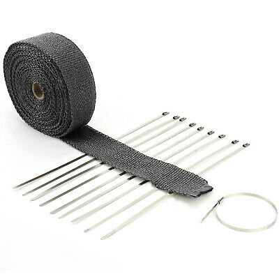 10m Fiber Exhaust Heat Wrap Manifold 10 Stainless Cable Ties 30cm Motorcycle