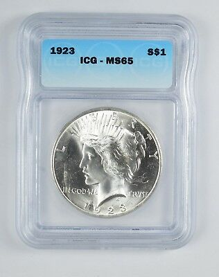 RARE - MS-65 1923 Peace Silver Dollar - Graded By ICG - Choice Unc *132