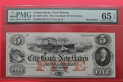 1850's 60's $5 The City Bank of New Haven Connecticut Obsolete Note PMG 65 EPQ