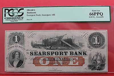 1800's $1 Searsport Bank  Maine Obsolete Note PCGS 66 PPQ
