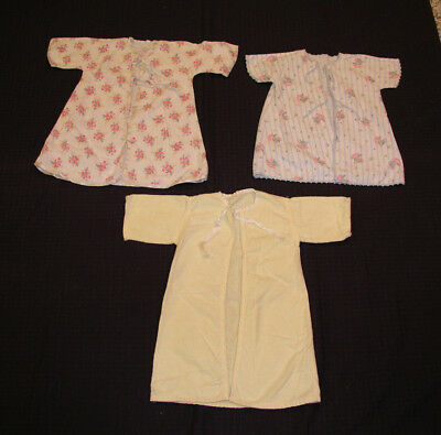 1950s 1960s Infant Child Doll Flannel Robes Print Yellow  Lot 3 Vintage