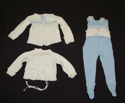 1960s Infant Child Knit Sweater Outfit Set Footed Jumper Long Sleeve Vintage