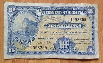 SCARCE 1954 Vintage Government of Gibraltar 10 Shillings Note ( Recalled )