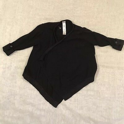 Cherokee Black Girls Childrens XS/4T Black Shall Cover Up Button 3/4 Sleeves