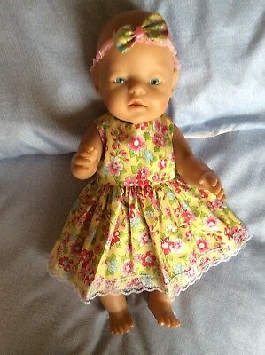 """Doll Clothes to fit 17"""" Baby Born doll ~ Dress & hband  ~ Lemon - Pink Flowers"""