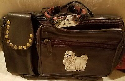 Leather Maltese Brass Studded Fanny Pack And Hand Painted Adjustable Bracelet