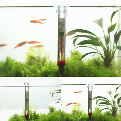 New Glass Meter Aquarium Fish Tank Water Temperature Thermometer Suction Cup