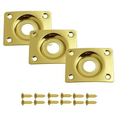 3x Electic Guitar Jack Plate for Gibson/Epiphone LP Les Paul Gold Rectangle