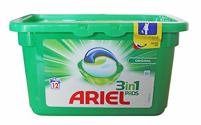 Ariel Original 3 in 1 Pods – Regular Washing Liquitab Tough Stains– 12 Washes