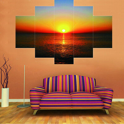5 Panels SEASIDE & SUNSET Canvas Print Wall Art Painting Picture Home Decor