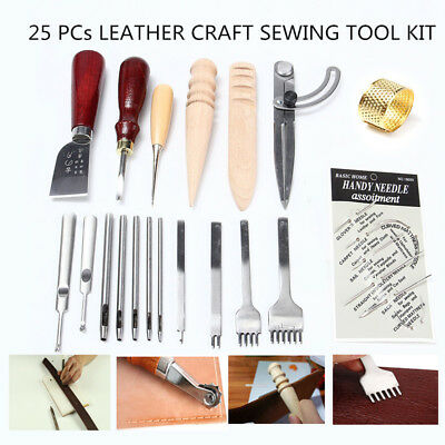 25x/SET Leather Craft Punch Tool Stitching Carving Working Saddle Sewing DIY Kit