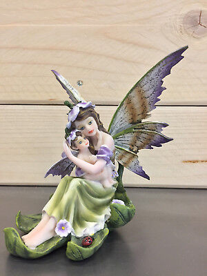 "Fate Les Alpes Fairy Land ""fata Magic Mama Con Bebe Con Fiori"" Da Collezione 329"