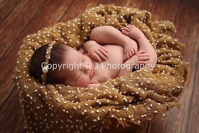 Tan Newborn Knit Textured Pebble Stretch Wrap  Baby Photo Photography Prop