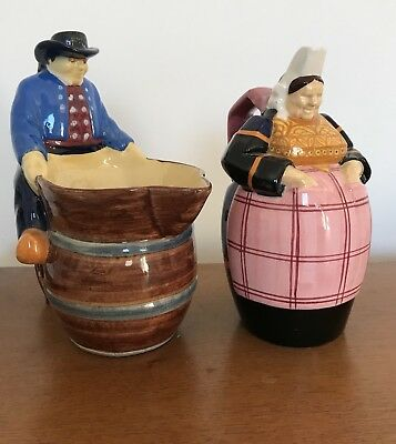HENRIOT QUIMPER Pottery France French Creamer Figurines C. Maillard