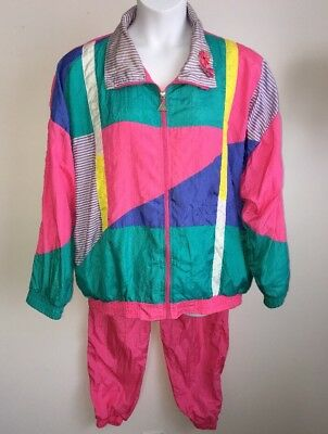 Casual Isle Track Suit Jacket And Pants Size 2X Windbreaker Jogging Retro