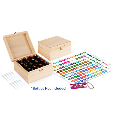 Wooden Essential Oil Box - Holds 16 30ml Essential Oil Bottles - Includes