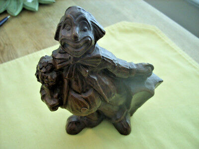 Vtg RED MILL Hand Carved Clown Figure Chocolate Brown Crushed Pecan Shells/Resin