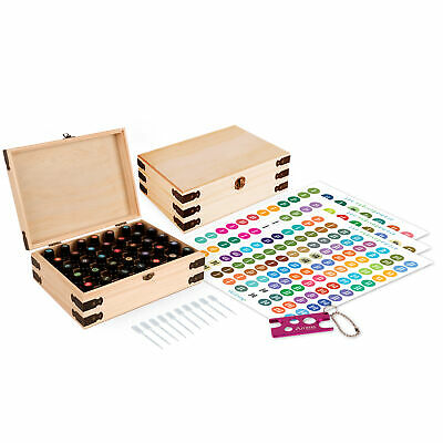 Wood Essential Oil Box Organizer - Holds 35 30ml (1 oz) Bottles - Includes