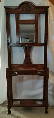 Antique /Vintage Wood Hall Tree with Mirror Drawer Coat hanger