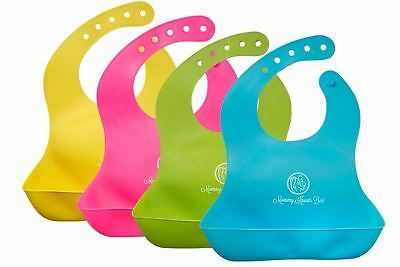 Waterproof Comfortable Soft Baby Bib Easily Wipes Clean Silicone Feeding Bibs
