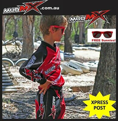 MOTOCROSS MX BMX OUTFIT(Pants+Jersey) Kids Youth Junior Dirt Bike Gear - RED