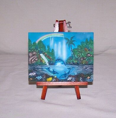 Trio Of Swimming Dolphins Plaque On A Wooden Easel