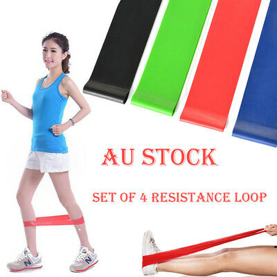 Set Of 4 Heavy Duty Resistance Band Loop Power GYM Fitness Exercise Workout Yoga