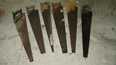 Vintage ANTIQUE 6Pc LOT HANDSAW HAND SAWS TOOLS DISSTON SIMONDS + WOOD OLD