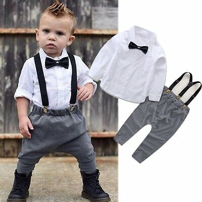 Newborn Infant Baby Boys Gentleman Clothes Shirt Tops Bib Pants Outfits Set Mon