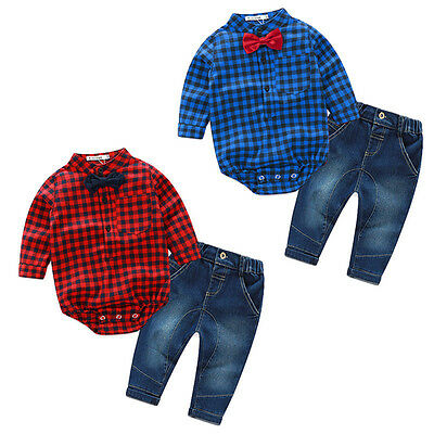 Newborn Baby Boy Clothes Plaid Romper Bodysuit Tops+Jeans Pants Outfits Set Mon