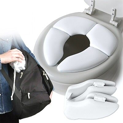 Kids Baby Toddler Travel Folding Padded Potty Seat Cushion Toilet Training AG&
