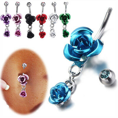 1 Pcs Red Rose Belly Button Ring Barbell Navel Body Piercing Fashion Jewelry